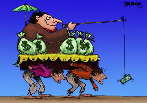 man-being-carried-by-slaves-using-money-as-a-carrot-on-a-stick